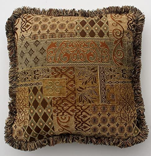 Brown and Gold Modern Transitional Decorative Throw Pillow with Fringe 25X25, Brown