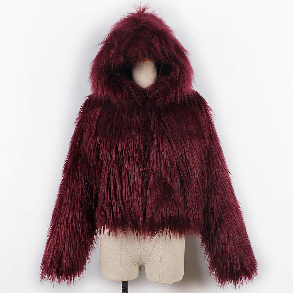 Pengy--Blouse PENGYGY Women's Short Hooded Faux Fur Parka Jacket Coat Outerwear Overcoat by Pengy--Blouse (Image #4)