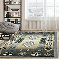 Superiors Designer Non-slip Motega Area Rug; Digitally Printed, Low Maintenance, Affordable and Fashionable, Blue-Beige - 8 x 10