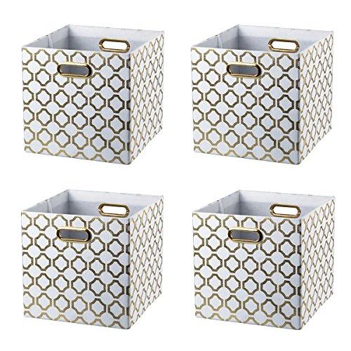 BAIST Gold Storage Cubes,Fancy Heavy Duty Canvas Decorative Foldable Storage Cube Bins Basket for Toys Clothes Books Large Square,4-Pack