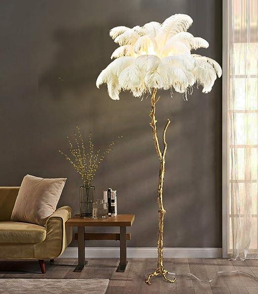 Amazon.com: Hlidpu Lámpara de suelo, plumas LED Lámpara de ...