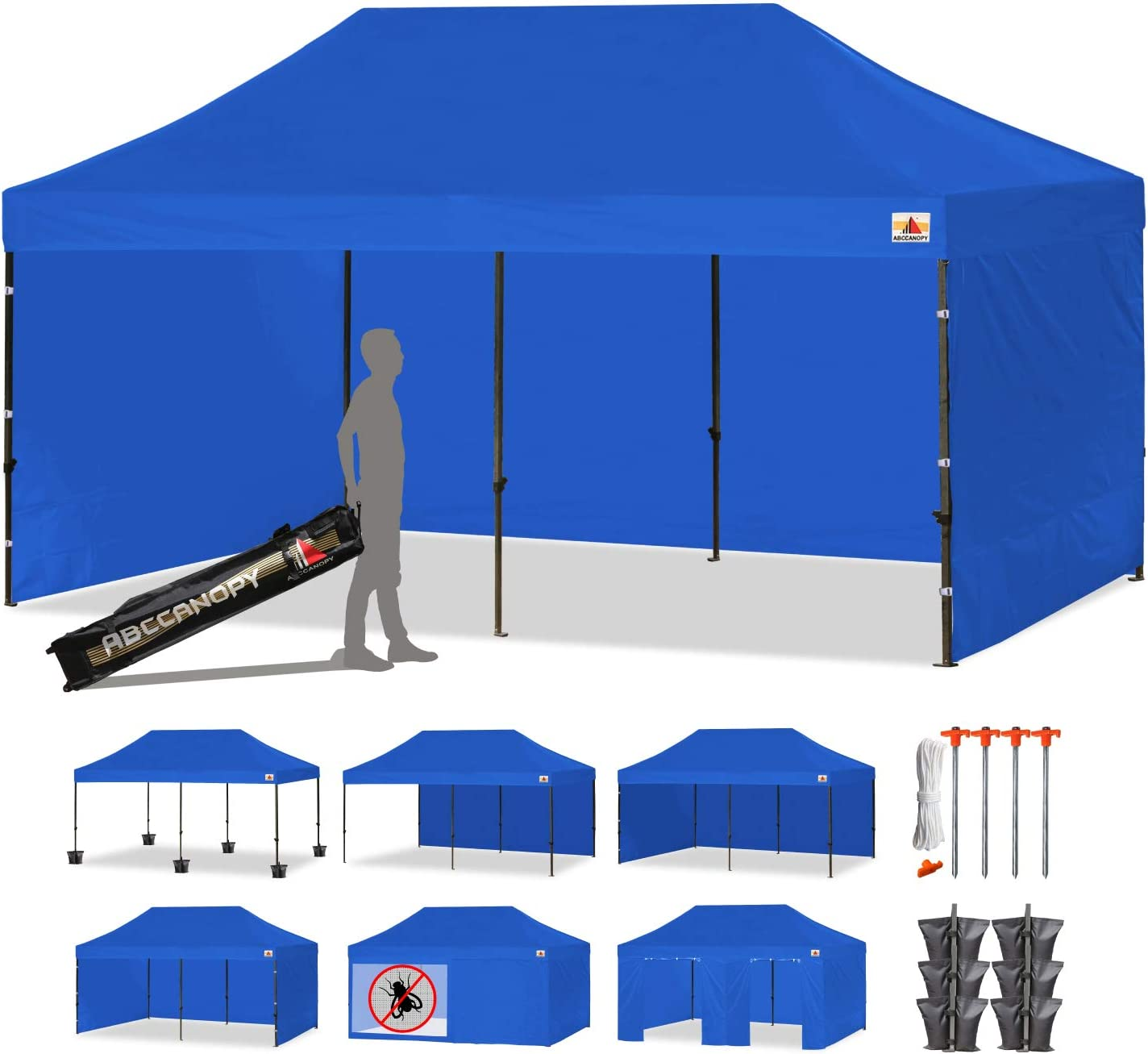 ABCCANOPY Deluxe 10 X 20 Pop up Canopy Tent Commercial Instant Gazebos with 9 Removable Walls and Roller Bag and 6 Weight Bags Blue