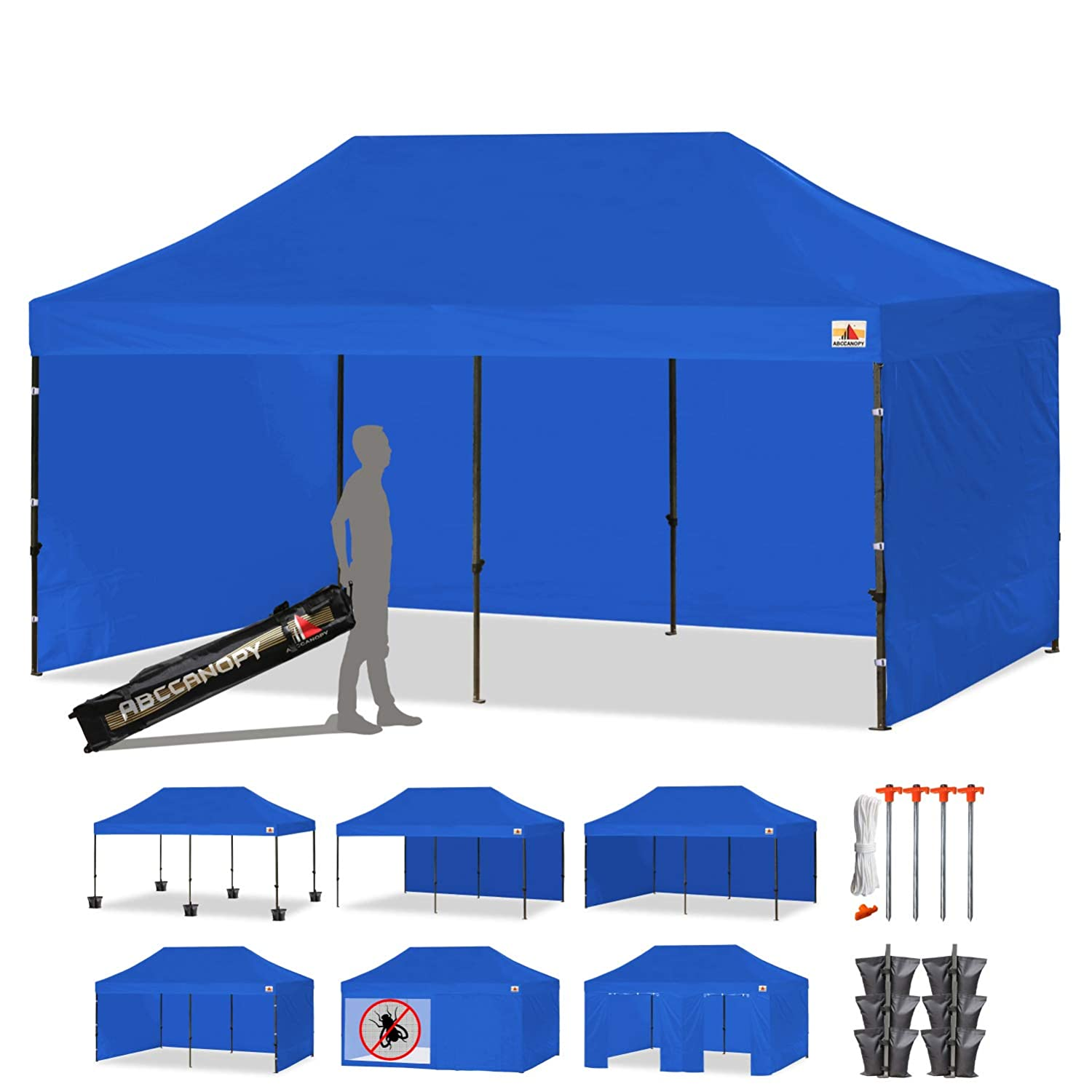 Ez Up Canopy 10x20 >> Abccanopy 18 Colors Deluxe 10x20 Pop Up Canopy Outdoor Party Tent Commercial Gazebo With Enclosure Walls And Wheeled Carry Bag Bonus 6x Weight Bag And