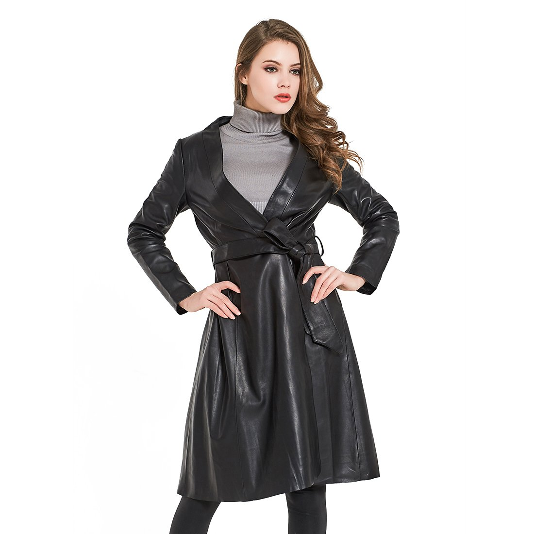 Maylian Womens Winter Black Lambskin Genuine Leather Trench Coat Soft Long Jacket