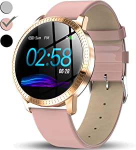 TURNMEON Women Hybrid Smart Watch - Waterproof Fitness Tracker, Color Touchscreen Fashion Smartwatch with Heart Rate Monitor, Blood Pressure Monitor, Sleep Female Menstrual Record Pedometer Clearance