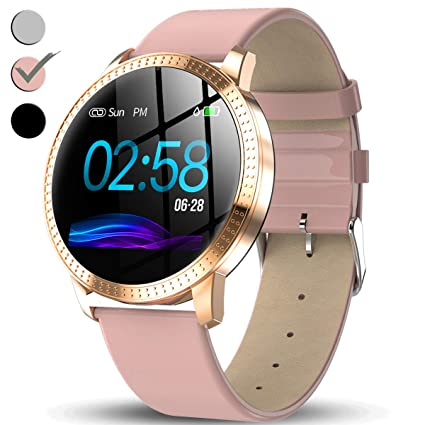 TURNMEON Womens Smart Watch, Waterproof Fitness Tracker, Color Touchscreen Fashion Smartwatch with Heart Rate, Blood Pressure, Sleep, Female ...