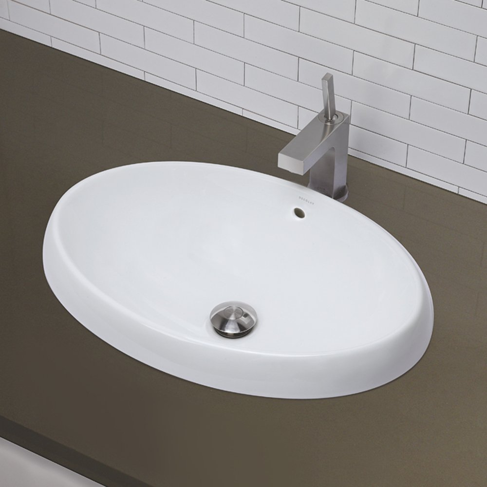 Recessed bathroom sink - Decolav 1455 Cwh Classically Redefined Oval Low Profile Semi Recessed Lavatory Sink White Vessel Sinks Amazon Com
