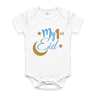 6d10a9b24 My First Eid Muslim Baby Boy Bodysuit Vest Grow Clothes Size 0-12:  Amazon.co.uk: Clothing