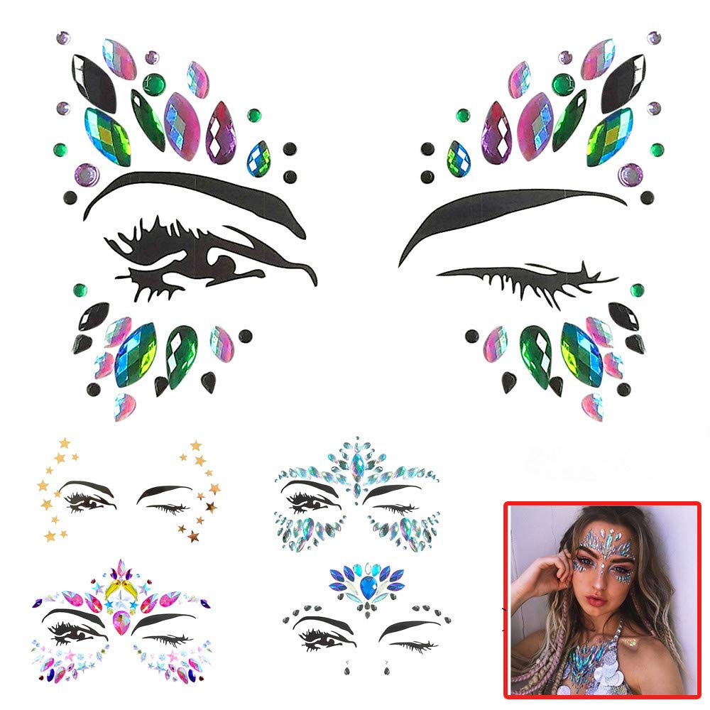 Kashyk Diverse Face Gems Tattoo Stickers, Safe Acrylic Diamond Sticker Face Jewels Shiny Mirror Drill Sticker Body Jewelry for Music Festival Halloween Party Makeup Party Adults Kids (A)