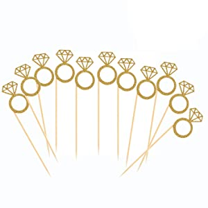 50 Pack Cupcake Toppers Gold Glitter Mini Diamond Ring Cakes Toppers for Marriage Engagement Anniversary Birthday Valentines Party Cake Decor