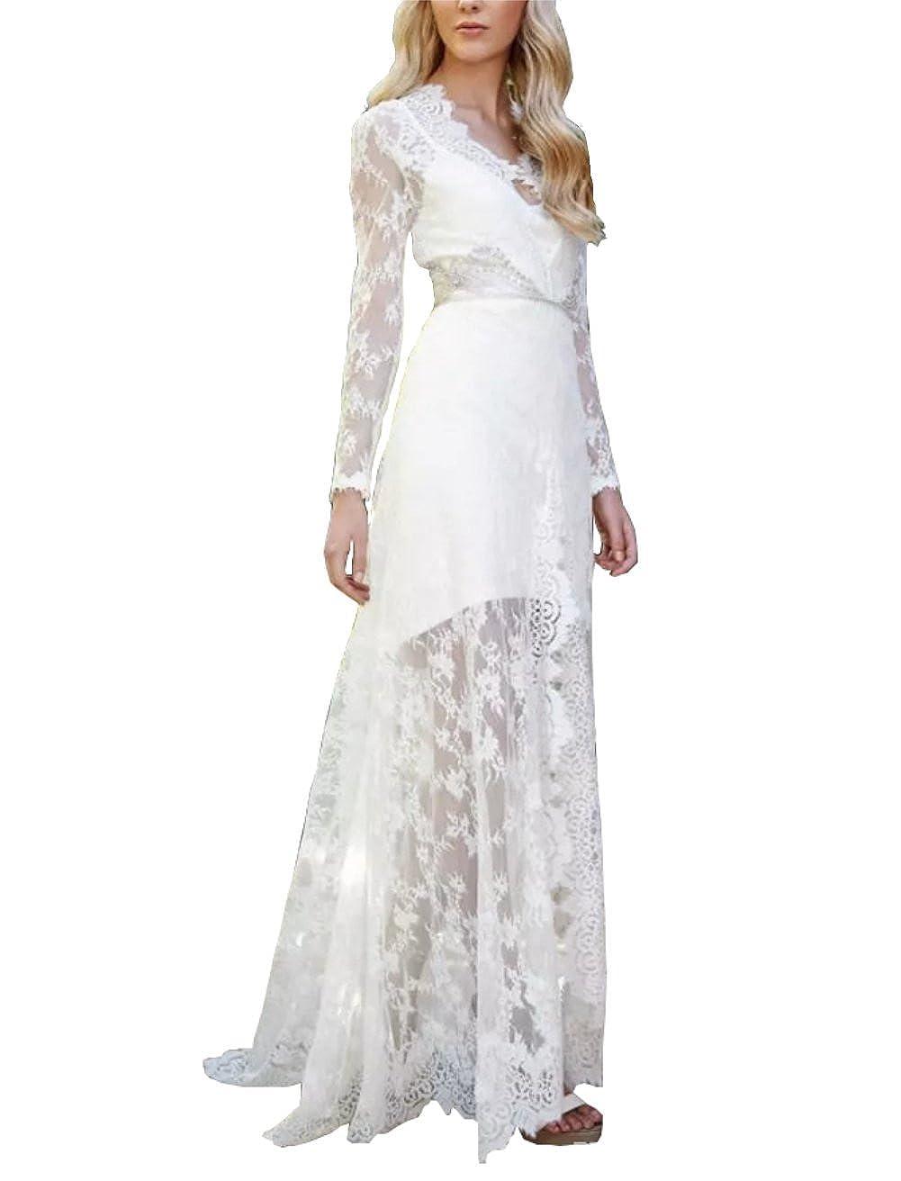 Kiss Rain Womens Deep V Neck Lace Wedding Dress with Long Sleeves