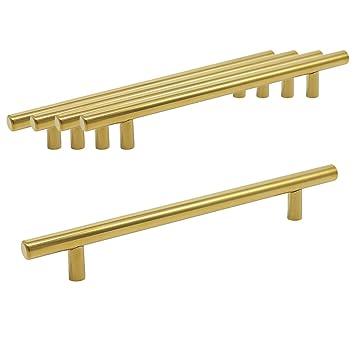 probrico Gold Edelstahl K/üche Schrank T Bar T/ür Griff Durchmesser 12 mm M/öbel Schublade Schrank Knauf Pull Lochabstand 160 mm