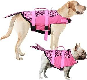Hollypet Dog Life Jacket Adjustable Dog Lifesaver Safety Reflective Vest Pet Life Preserver with Rescue Handle