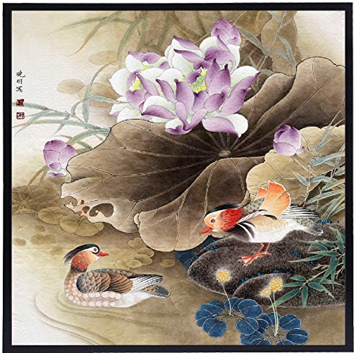 INK WASH Chinese Flower Landscape Painitng of Feng Shui Mandarin Ducks Painting for True Love Activate Relationship Art Wall Artwork for Office Bedroom Living Room Ready to Hang 13