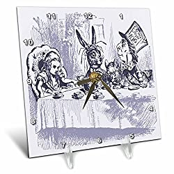 Florene Nursery Rhymes And Fairytales - Image of Alice Wonderland Mad Tea Party In Violet - 6x6 Desk Clock (dc_234698_1)