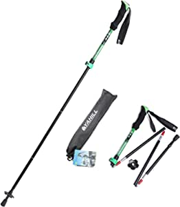 Yahill Folding Trekking Pole Collapsible Stick Ultralight Adjustable, Alpenstocks with EVA Foam Handle, for Travel Hiking Camping Climbing Backpacking Walking