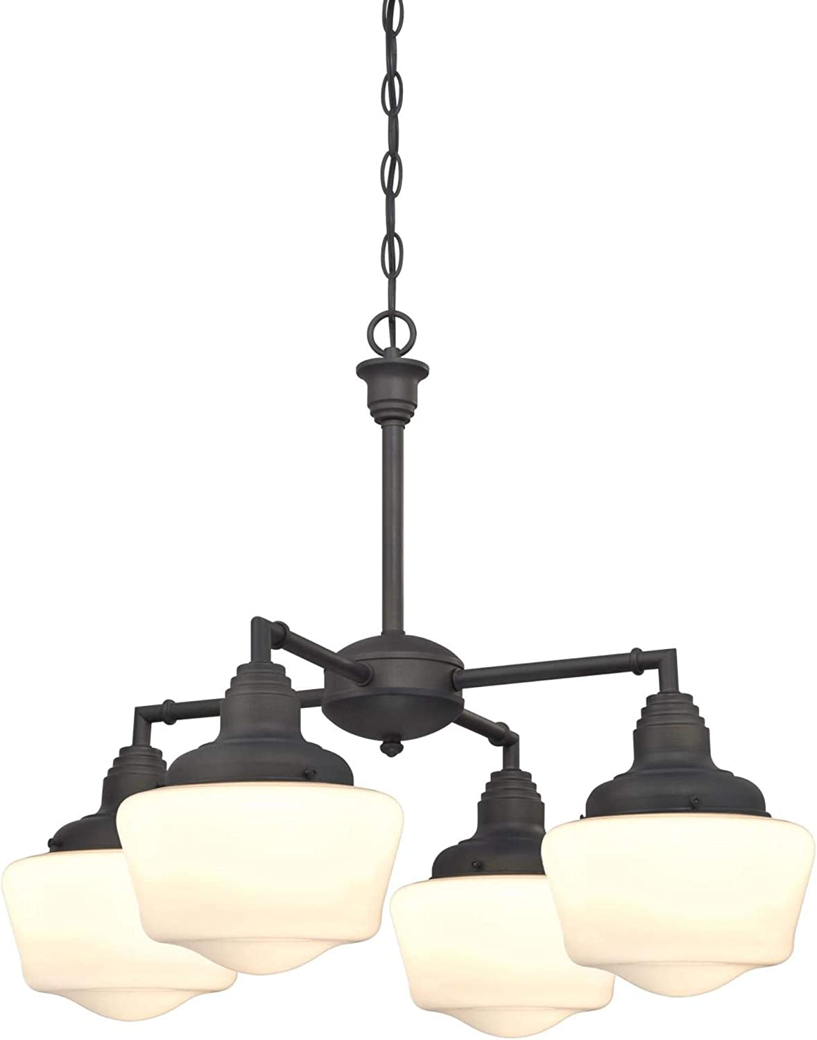Westinghouse Lighting 6342000 Scholar Four-Light Indoor Convertible Chandelier Semi-Flush Ceiling Fixture, Oil Rubbed Bronze Finish with White Opal Glass