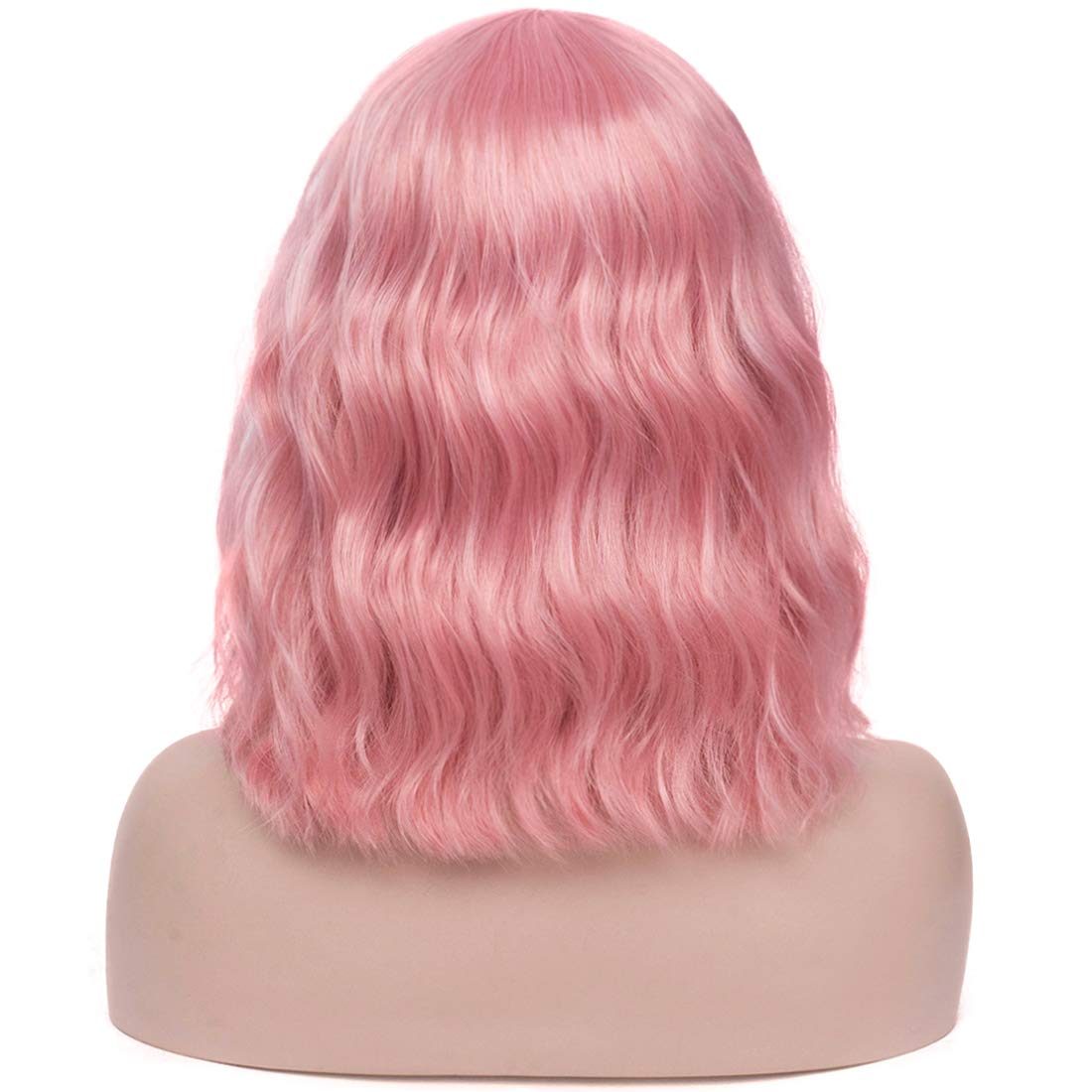 Mersi Women Black Wig Short Wavy Bob Hair Wig with Bangs Natural Synthetic Cosplay Costume Wigs for Halloween Party S067