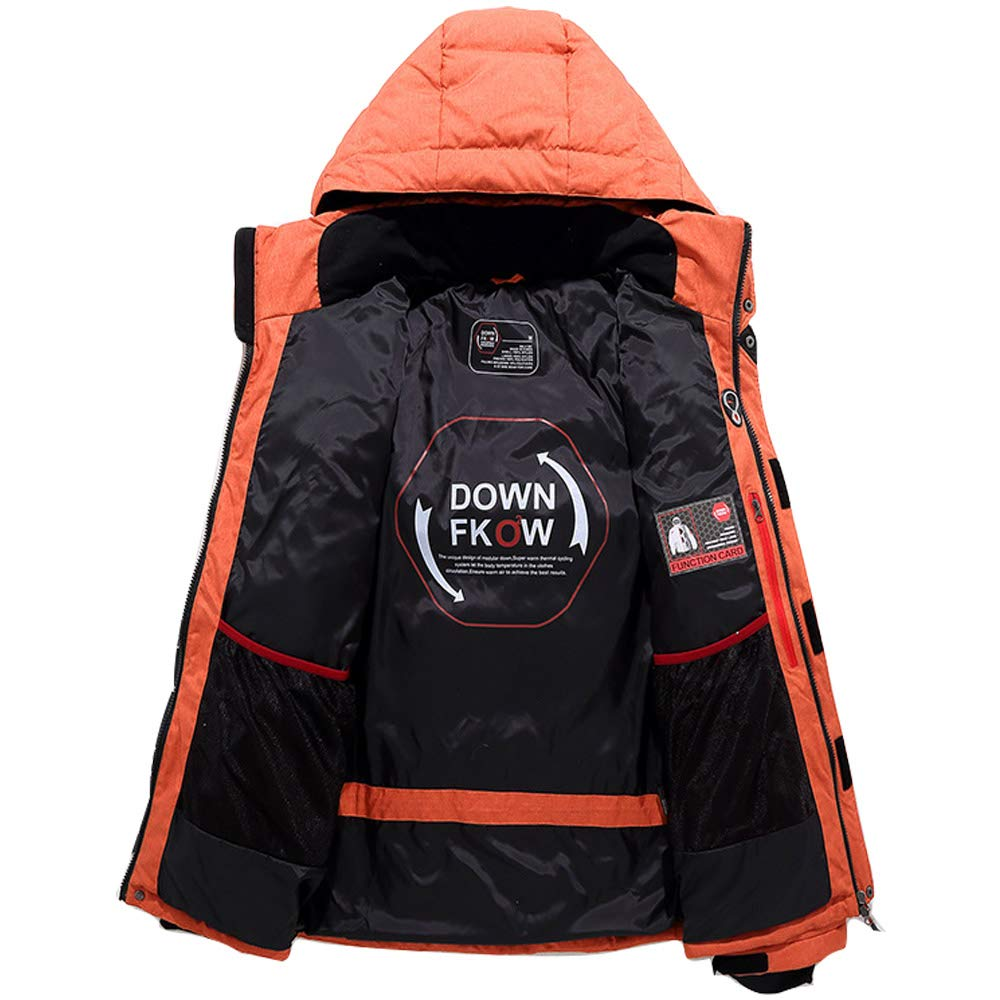 Manbozix Mens Down Jacket with Hood Outdoor Winter Jacket Extra Thick Warm Coat for Camping Hiking Mountaineering