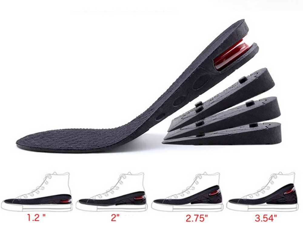 """Height Increase Insole, 4-Layer Orthotic heel shoe lift kit with Air cushion Elevator Shoe Insole lifts kits Inserts for Men & Women Taller Insoles 1.2'' to 3.5"""" variable height"""