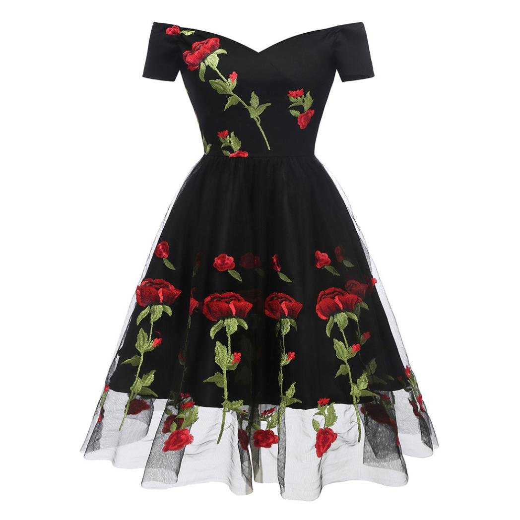 Minisoya Women Vintage Rose Embroidered Princess Swing Dress Casual Off Shoulder Cocktail Party Gown A-line Dress (Black, M)
