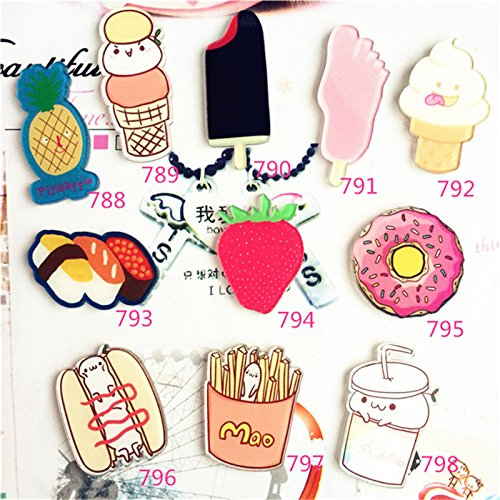 Biscuit Acrylic - Offbeat cartoon creative ice cream pineapple strawberry biscuit burger fries Popsicle Acrylic Coated brooch trinkets