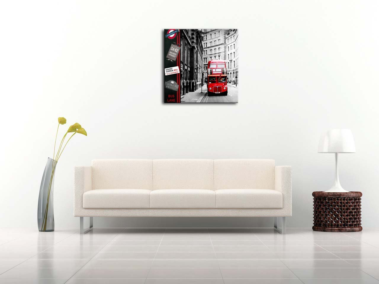 Canvas Print Wall Art Painting London Street Scene Red London Bus England City UK British Vintage Buildings in Black and White Paintings Modern Giclee ...