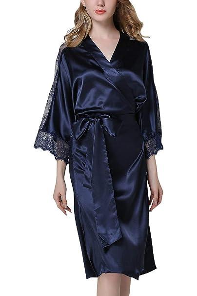 Vestido De Bata Kimono Largo Encaje Suave Satén Noche Clásico Calentamiento Albornoz Kimono Quimisa Bata De