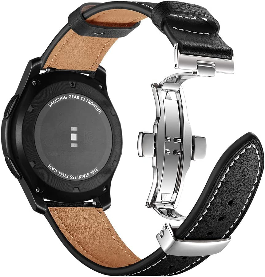 Myada 22MM Correa para Samsung Galaxy Watch de 46 mm in Piel auténtica, Correa Deportiva de Metal con Hebilla de Mariposa para Samsung Galaxy Watch 46 mm/Gear S3 Frontier/Classic
