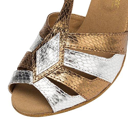 Miyoopark ,  Damen Tanzschuhe Gold/White-7.5cm heel