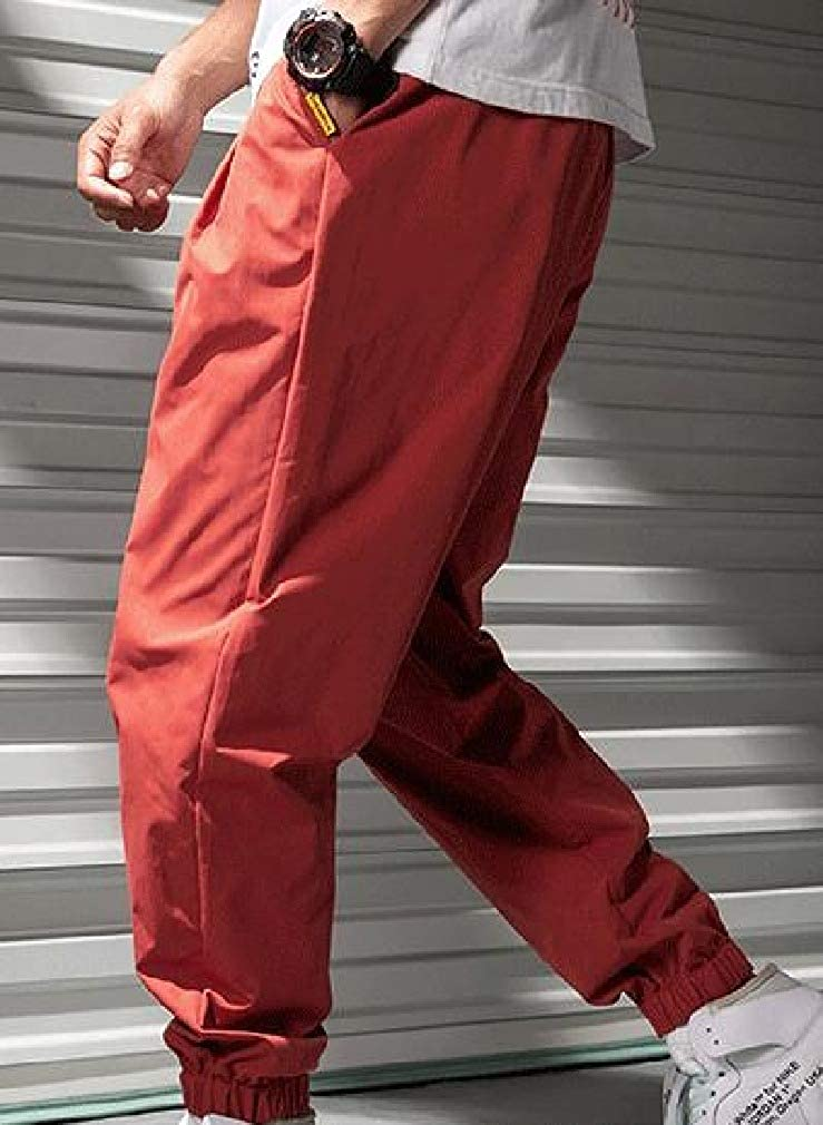 Vska Men Haren Pants Relaxed-Fit Baggy Elastic Waist Casual Pants