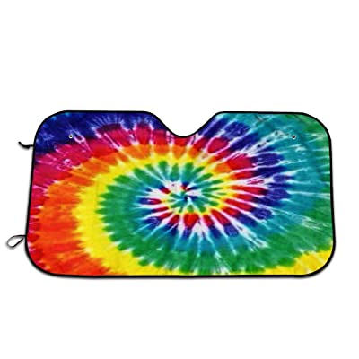 Tie Dye Auto Windshield Sun Shade Car Front Window Sunshade-UV Protection Double Bubble Foil Jumbo Foldable Sunshade for Car Prevent Your Car from Sun Heat & Glare Keep Vehicle Cool: Garden & Outdoor