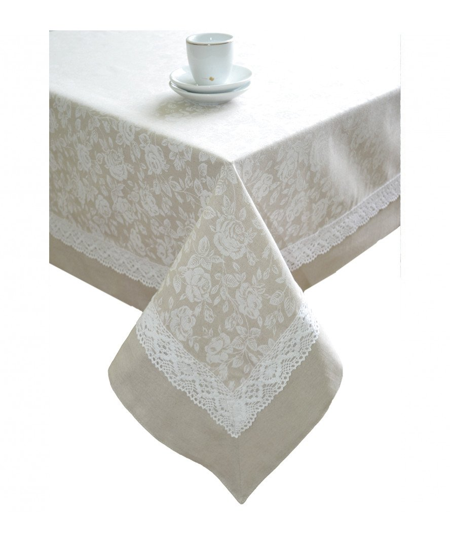 Provence Cotton Tablecloth with Cotton Lace in French Country Style, 55''x70'', White Rose