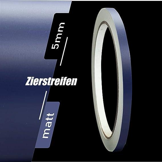 Zierstreifen Matt Dunkelblau Blau 5mm Aufkleber Länge 10m Auto Boot Klebeband Sticker Auto
