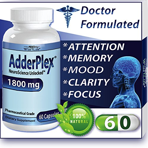 Adderplex à améliorer la concentration Ajouté Attention, l'humeur, augmenter la mémoire, la concentration, l'énergie mentale, DR Formulé Safe Anti-Stress alternative naturelle w / 250 mg de phosphatidylsérine. 60 capsules