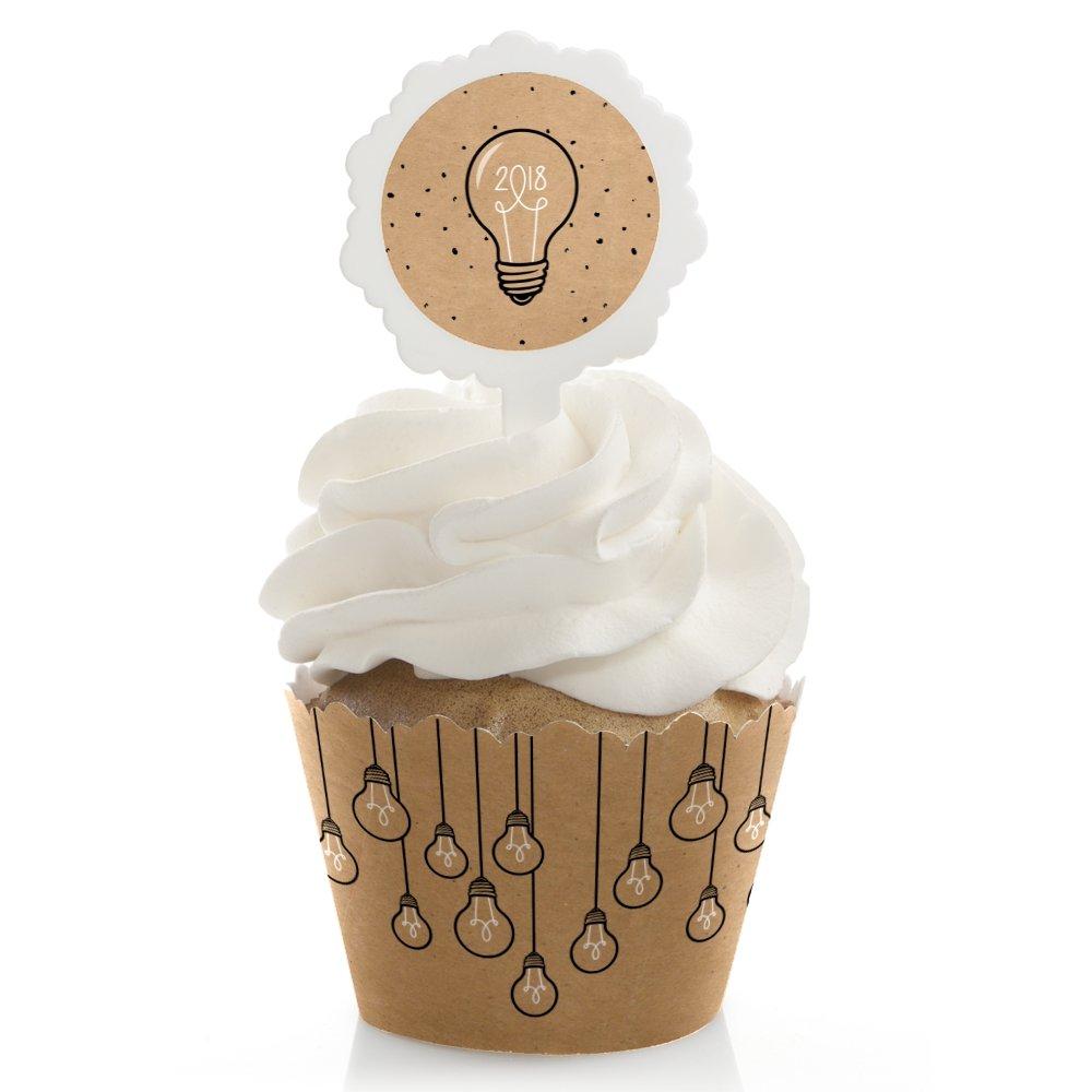 Bright Future - 2018 Graduation Cupcake Wrapper and Pick - Cupcake Decorating Kit - Set of 24