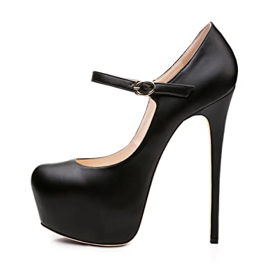 7db221c827 Joogo Women Mary Jane Platform Pumps Ankle Strap Stiletto High Heels Dress Shoes  Black Size 5