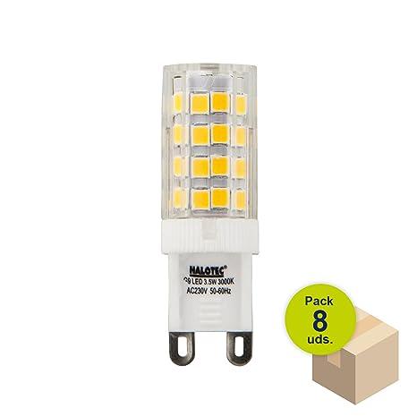 HALOTEC Pack de 8 Bombillas G9 LED 3,5W 230V 3000 K blanco cálido