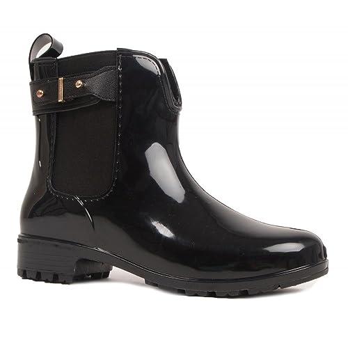 Primtex Bottines Caoutchouc Noir pour Femme Type Bottes de pluie,36