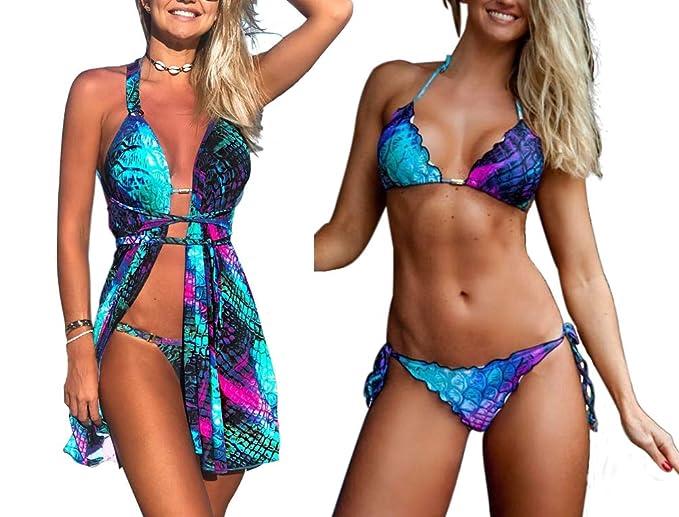 3074228b83d Women's Sexy Three Pieces Swimwear Mermaid Fish Scale Print Bikini Set with  Cover Up Swimsuit (