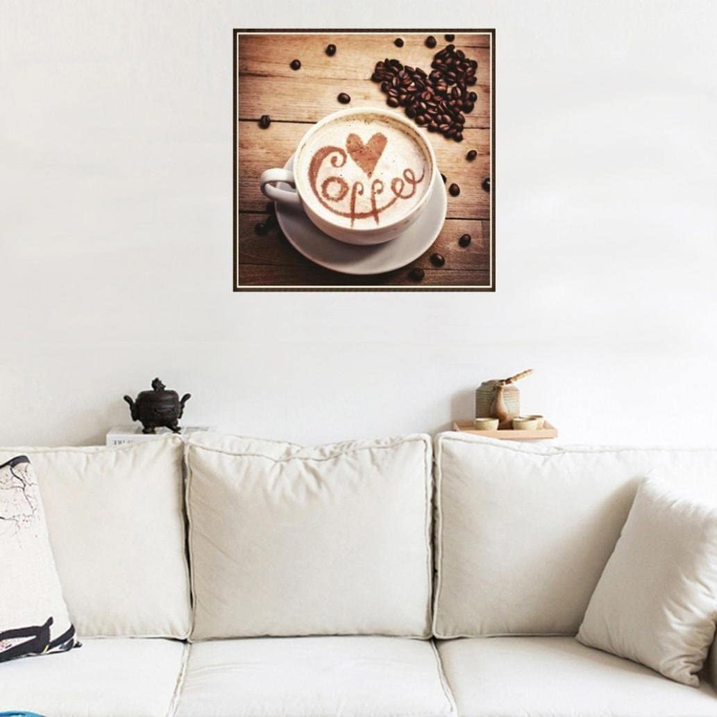 Yeefant Coffee Art Embroidery Paintings No Fading 5D Canvas Rhinestone Pasted DIY Diamond Cross Stitch Home Wall Decor for Bedroom Living Room,12x12 Inch