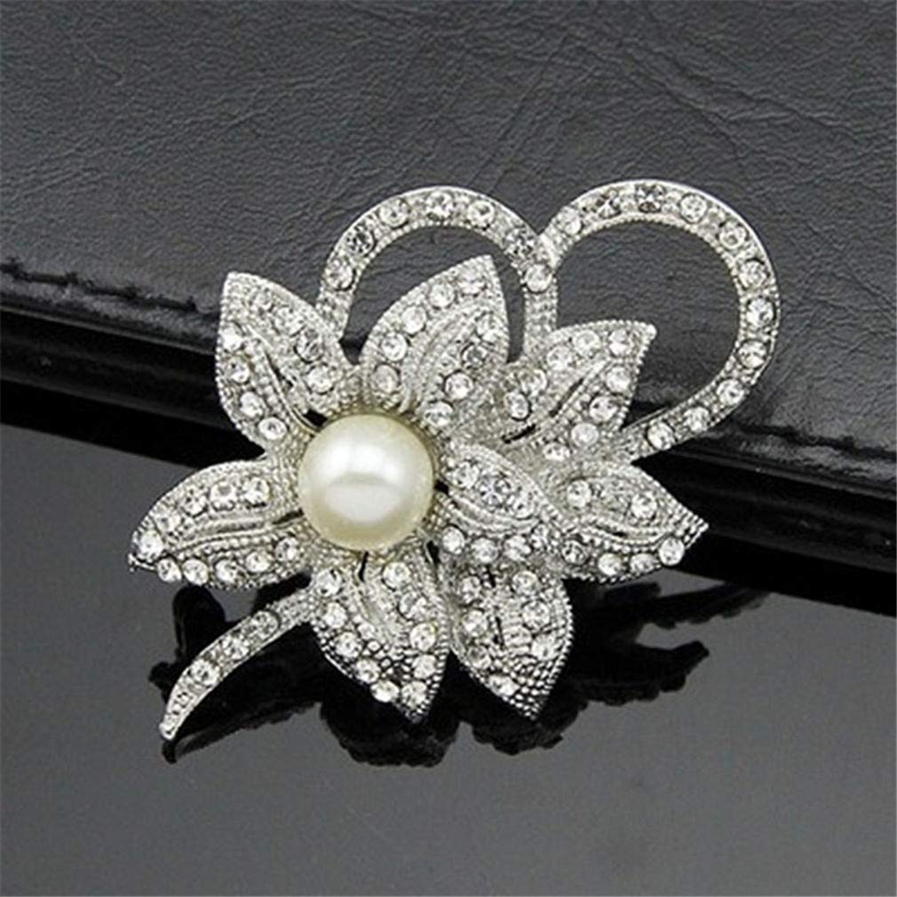 Meoliny Women Classy Flower Brooch Pin with Shiny Created Crystal and Faux Pearl for Wedding Bridal Corsage