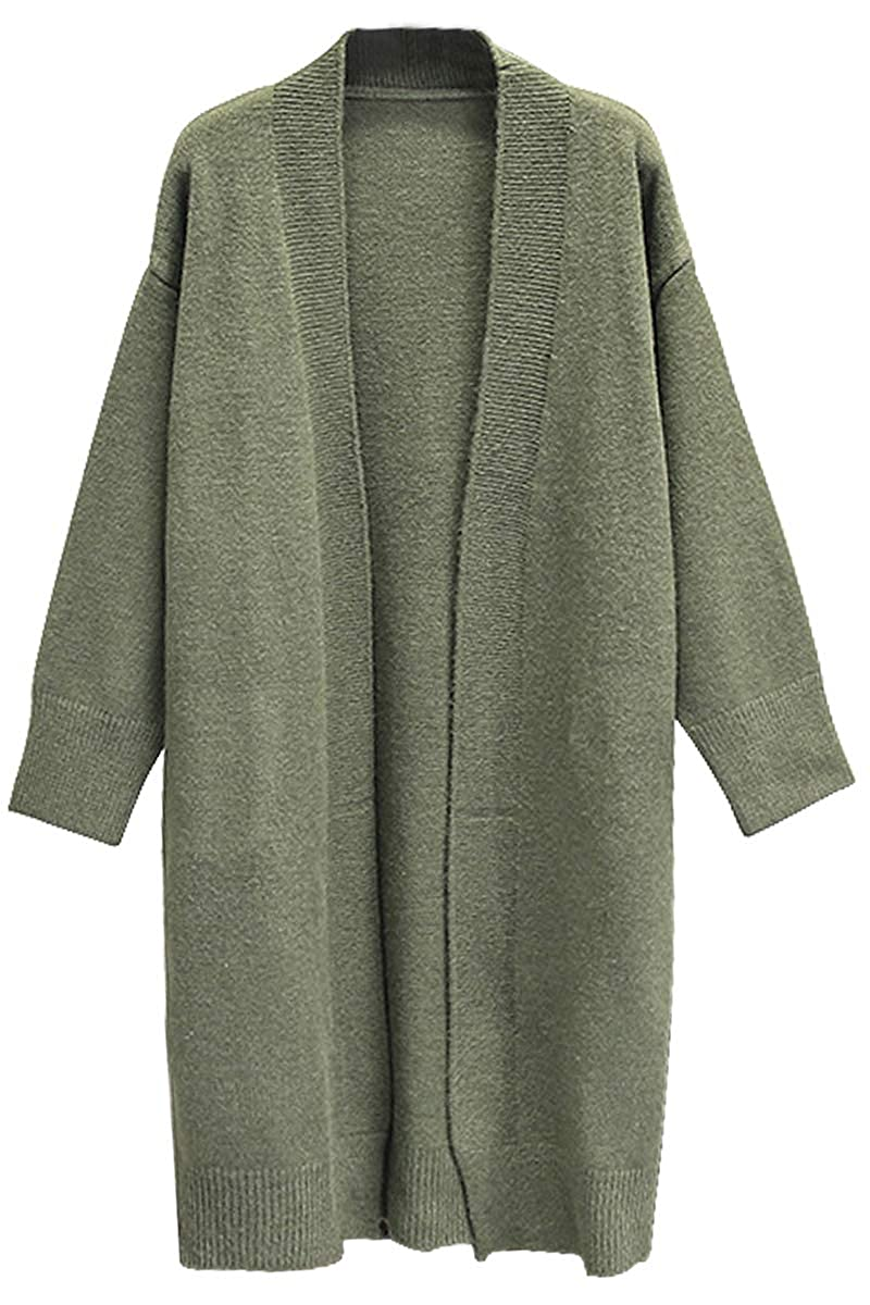 Deodar Womens Casual Open Front Long Sleeve Knit Cardigan Sweater Coat with Pockets