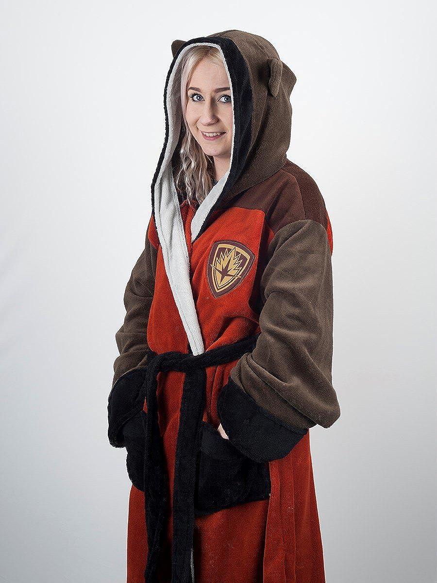 Offizielle M/änner W/ächter der Galaxy Rocket Waschb/är Dressing Gown Bademantel