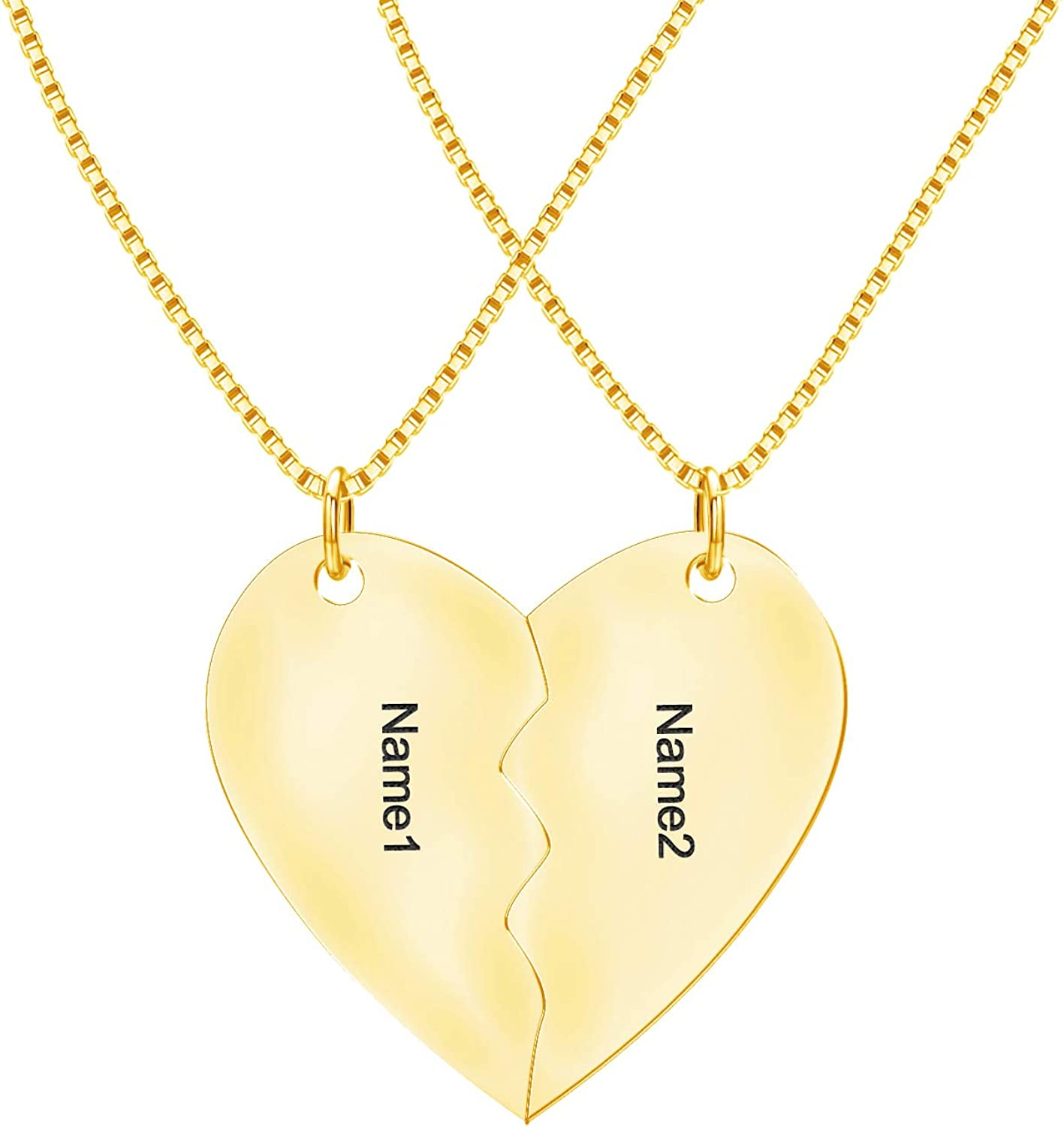 Personalized Broken Heart Necklace 18k Gold plated or Sterling Silver initial Necklace Monogram Necklace personalized gift engraved