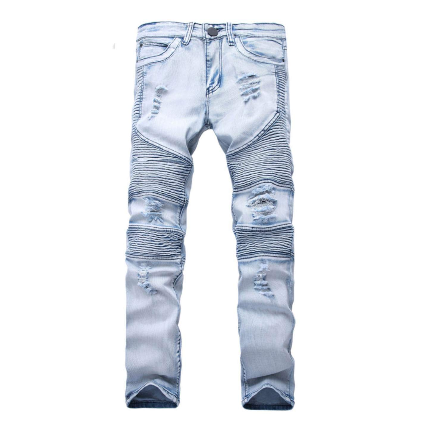 kjPmgDxK Mens Skinny Slim Elastic Denim Hip HopWashed Ripped Plus Size Jeans