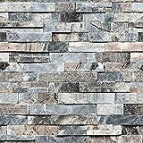 Wallpaper Marble 3D Stereoscopic Imitation Marble Brick Wall Wallpaper Retro Warm Gray Brick Pattern