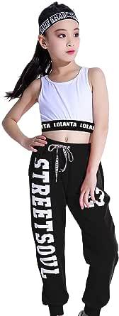 Ropa Hip Hop Chicas, Conjunto de Pantalones Joggers Niña,Traje de Baile Callejero