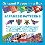 """Origami Paper in a Box - Japanese Patterns: 192 Sheets of 6 X 6"""" Folding Paper & 32-Page Book (Tuttle Origami Paper)"""