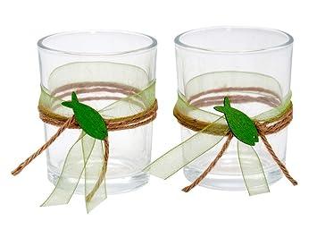 Zauberdeko 2x Teelichtglas Kommunion Konfirmation Tischdeko Fisch